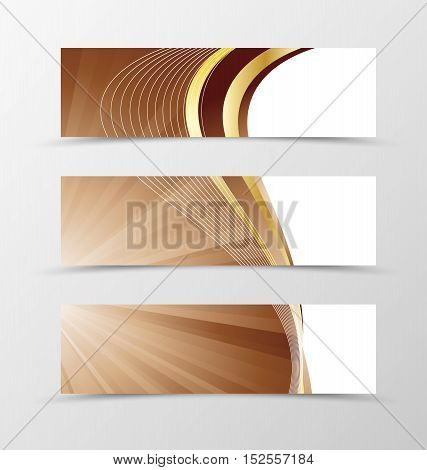 Set of banner vortex design. Light banner for header in coffee with milk colors with gold lines. Design of banner in wavy spectrum style. Vector illustration
