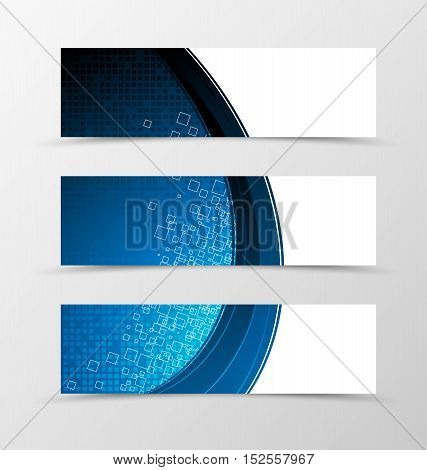 Set of header banner digital design with square surface in blue color and tecnologic style. Vector illustration