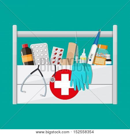 Mediacal first aid kit with different pills and medical devices, Pill and care healthy, healthcare. vector illustration in flat style isolated on green background