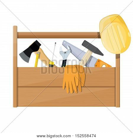 Wooden toolbox full of construction equipment. vector illustration in flat style
