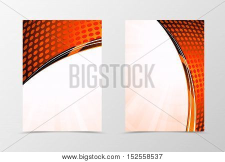 Front and back technologic wave flyer template design. Abstract template in red color with digital dynamic circle surface. Vector illustration