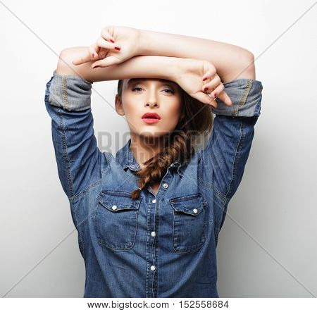 Young beautiful woman wearing casual clothes