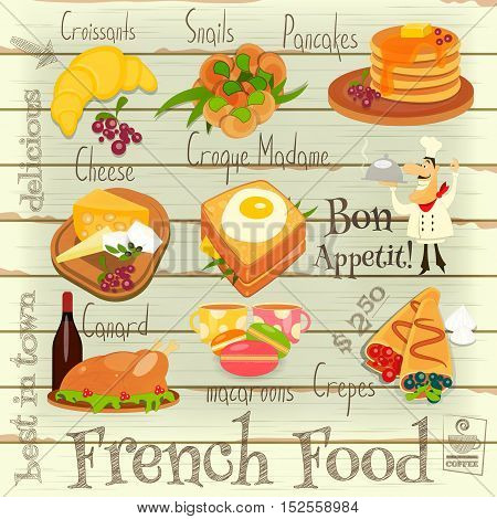 French Food Menu Card with Traditional Meal on on White Wooden Background. Vector Illustration.