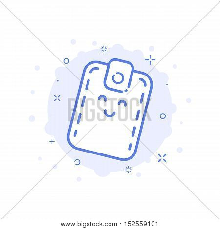 Vector illustration of icon shopping concept with smiling cute wallet in line style. Design for internet shopping, banner, web page and mobile app. Outline object e-commerce. Graphic symbol isolated.
