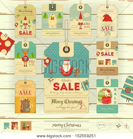 Merry Christmas and New Year Sale Tags in Retro Style on White Wooden Background. Winter Sell-out Labels Collection. Vector Illustration.