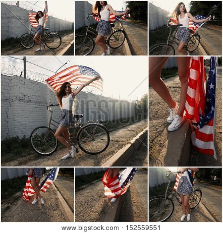 Young girl holding americam stars and stripes in her hands outdoor collage retro color toned