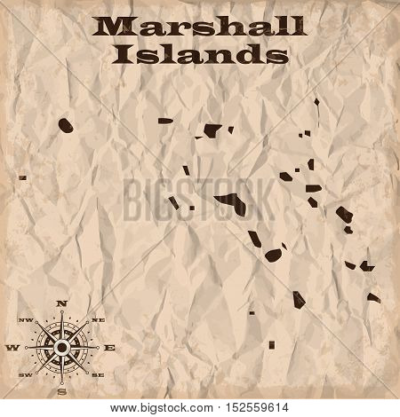 Marshall Islands old map with grunge and crumpled paper. Vector illustration