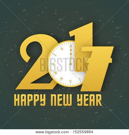 Creative text 2017 with clock showing midnight time, Elegant greeting card design for Happy New Year celebration.