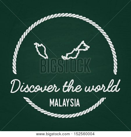 White Chalk Texture Hipster Insignia With Malaysia Map On A Green Blackboard. Grunge Rubber Seal Wit