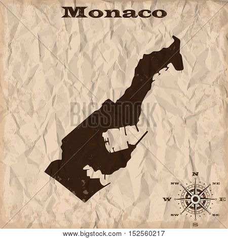 Monaco old map with grunge and crumpled paper. Vector illustration