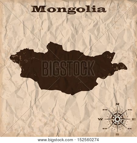 Mongolia old map with grunge and crumpled paper. Vector illustration