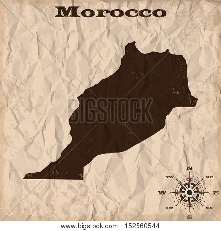 Morocco old map with grunge and crumpled paper. Vector illustration