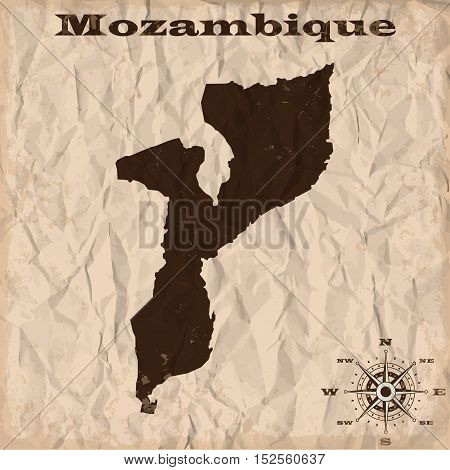 Mozambique old map with grunge and crumpled paper. Vector illustration