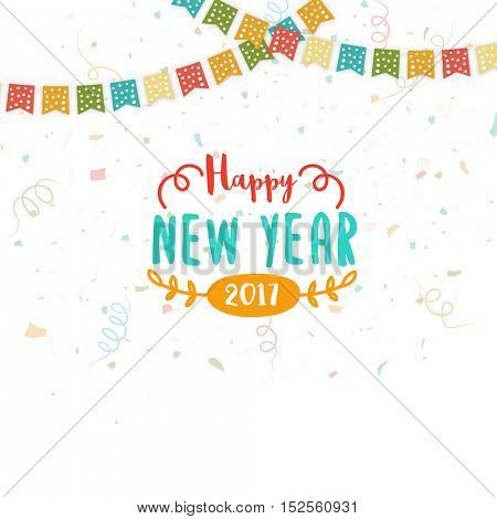 Colorful buntings decorated greeting card design for Happy New Year celebration.