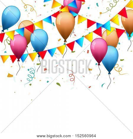 Festive holiday background decorated with colorful flying balloons, buntings and confetti.