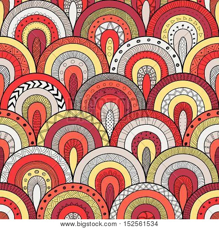 Tribal loop seamless pattern indian or african ethnic patchwork style. Round tiles with hand drawn texture. Vector image for fashion textile decorative background wrapping paper