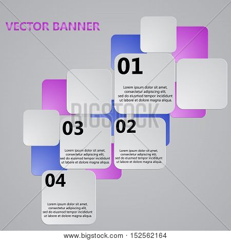 Modern colorful design. Set of paper banners