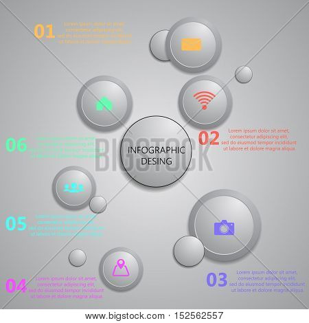 Info Graphic With Abstract Design Gray Bubbles Template