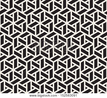 Vector Seamless Black And White Grid Pattern. Abstract Geometric Background Design