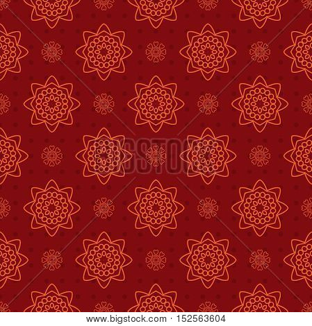 Beautiful retro seamless pattern, vintage texture. Pattern of red and orange ornaments.