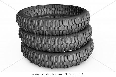 Motorcycle tyre isolated 3d render motor, safety, speed