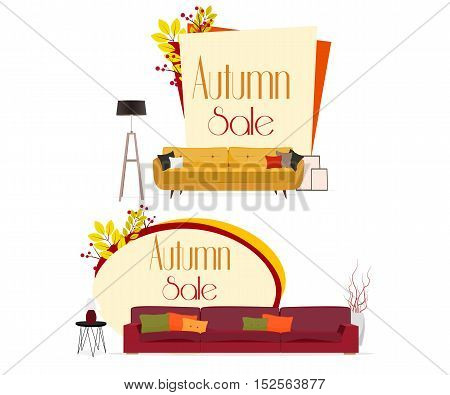 Furniture. Autumn sale. Furniture design. Sofas with pillows, lamps, pictures.