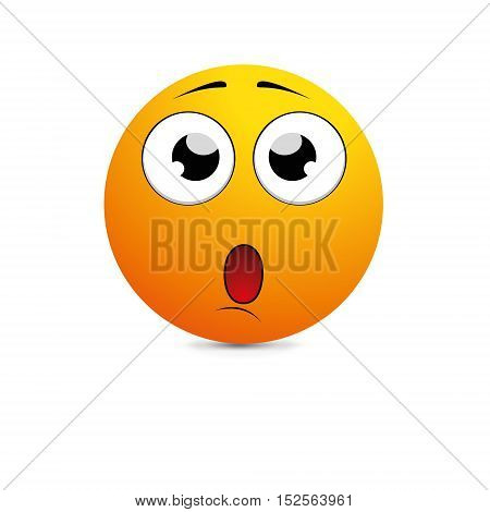 Surprised Expression Cartoon Smiley isolated on a white background
