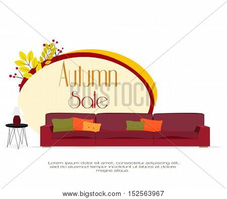 Furniture. Autumn sale. Furniture design. Sofa with pillows, lamp, autumn leaves.