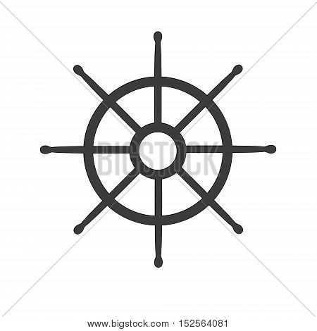 Wheel of ship icon isolated on white background