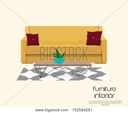 Living room. Furniture design. Sofa with table