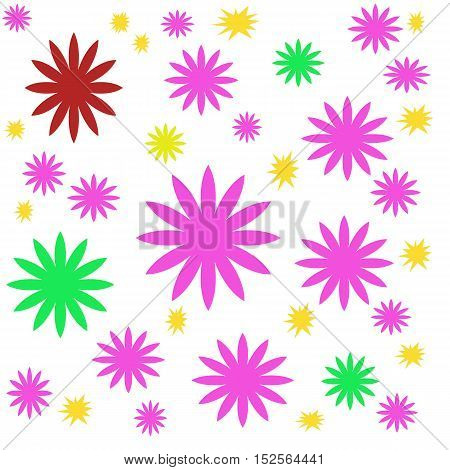 Flowers colorful on white background for design of fabrics, accessories and tiles panel. Children's fun and cheerful pattern.