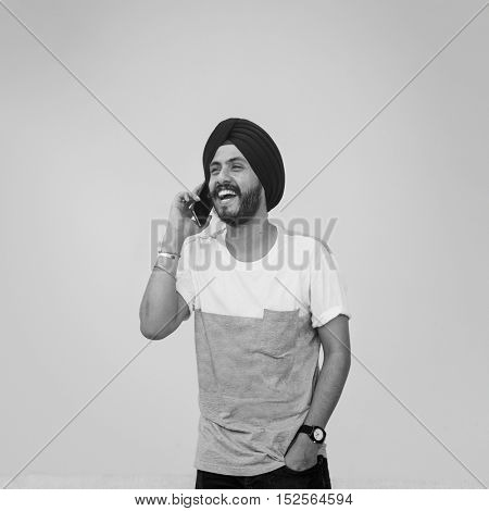 Man Indian Telecommunication Phone Connection Concept