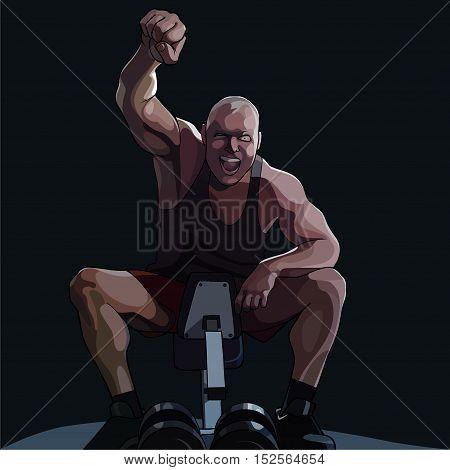 cartoon happy man sitting on sports equipment