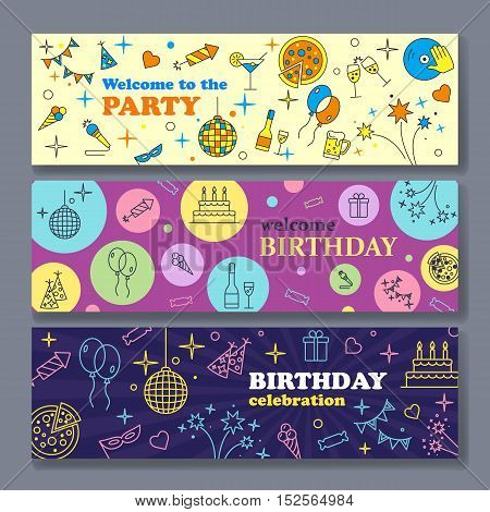 Happy Birthday Card. Confetti cute fonts masks. Kids birthday party banner. Poster to birthday celebration. Party celebration banner Banner or Template design for Musical Party celebration.