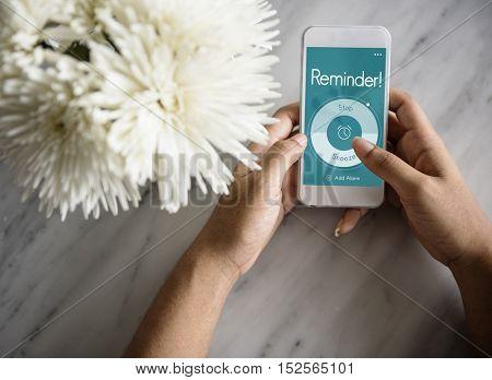 Alarm Clock Wake Up Time Reminder Personal Organizer Concept