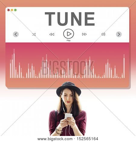 Lady Standing Listening Music Concept