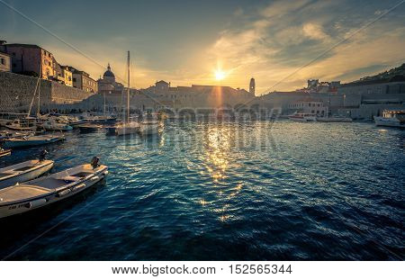 Stunning panorama of Dubrovnik at sunset  with old town and Adriatic sea,Dalmatia,Croatia,Europe