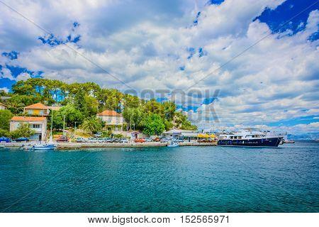 View at Island Solta seascape in small mediterranean place Rogac, Croatia landscape.