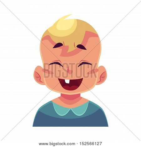 Little boy face, laughing facial expression, cartoon vector illustrations isolated on white background. Blond male kid emoji face laughing out load, closed eyes and open mouth. Laughing expression