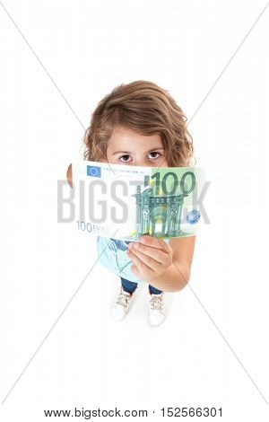 Little girl holding 100 euro. All on white background.