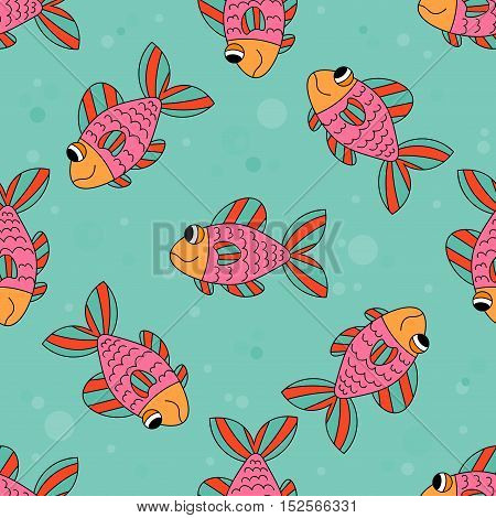 Cute colorful cartoon fish seamless pattern. Pink smiling fish. Fish swimming underwater. Tropical ocean life. Animal wrapping paper. Vector illustration.