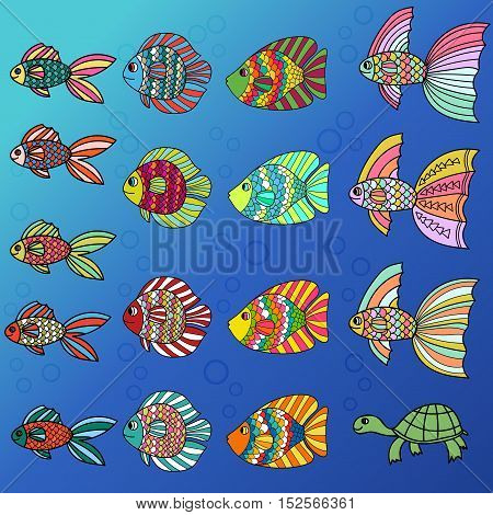 Cartoon colorful cute fish set isolated on background. Hand drawn thin line tropical aquarium fish and turtle icon collection. Vector illustration.