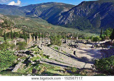 The Theatre And Apollo Temple In Delphi, Greece