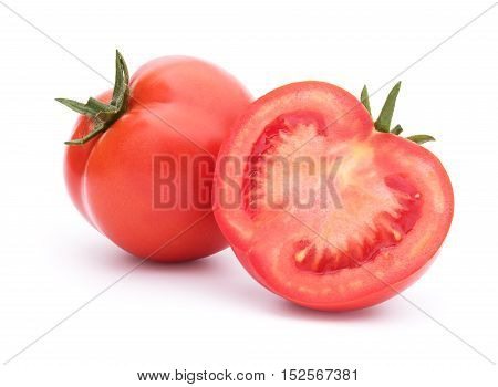 Sliced red tomato and one behind isolated on white with shadow