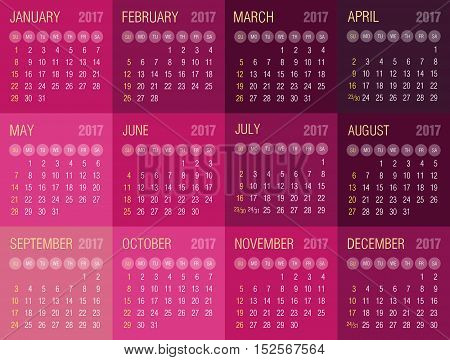 Calendar 2017 year. Week starts from Sunday eps 10