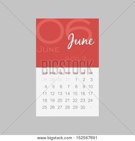 Calendar 2017 months June. Week starts from Sunday eps 10