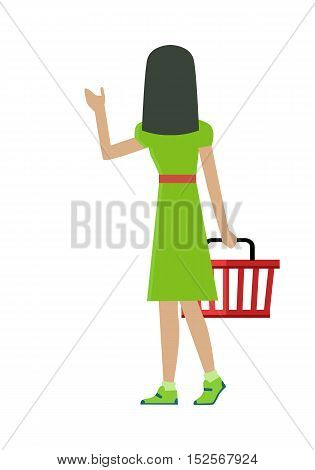 Woman customer character vector template. Flat design. Buyer in grocery shop. Woman in green dress with basket in hand taking goods on white background. Consumer choice and shopping in mall concept.
