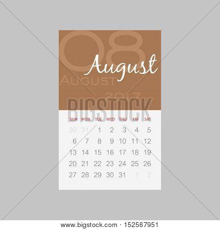 Calendar 2017 months August. Week starts from Sunday eps 10