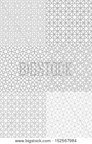 Set of seamless patterns with traditional ornament. Vector illustration.