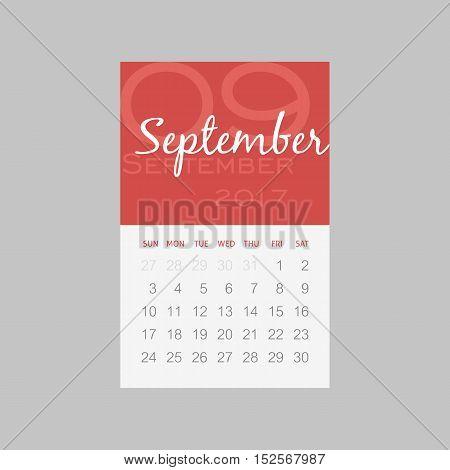 Calendar 2017 months September. Week starts from Sunday eps 10